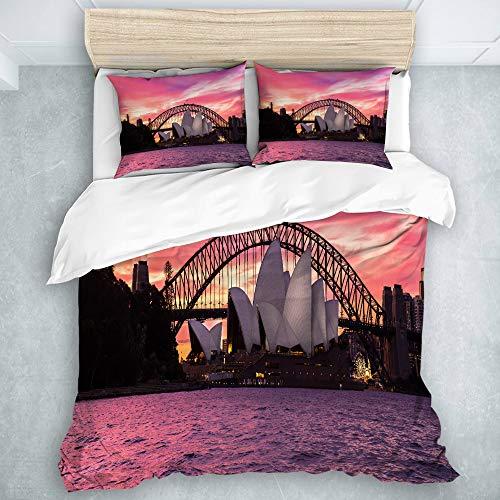MIFSOIAVV 3-Piece Duvet Cover, Australia Sydney Opera House City Harbour Bridge Morning Light Sunset View, Duvet Comforter Cover Set Soft (King Size) (Sets Australia Comforter King)