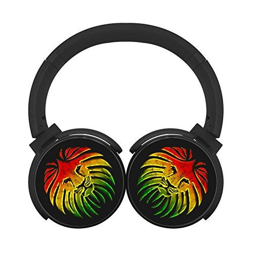 MagicQ Jamaica Lion Reggae Bluetooth Headphones,Hi-Fi Stereo Earphones Black