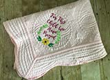 Light Pink Embroidered Baby Girl Quilt Shower Gift For This Child We Have Prayed