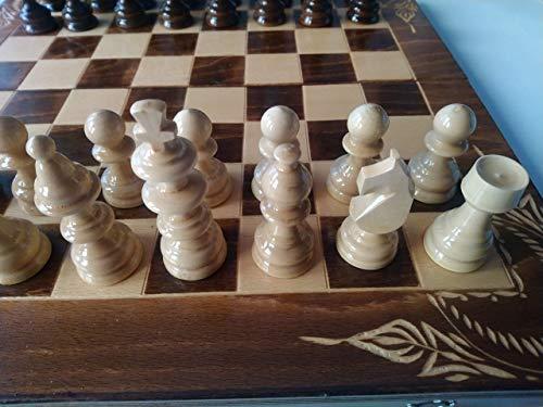 Juego de ajedrez de madera marron, backgammon, damas, 44×44 cm caja de tablero de ajedrez de madera de haya tallada…