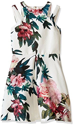 Miss Behave Big Girls' Adrianna Dress, White/Multi, X-Large