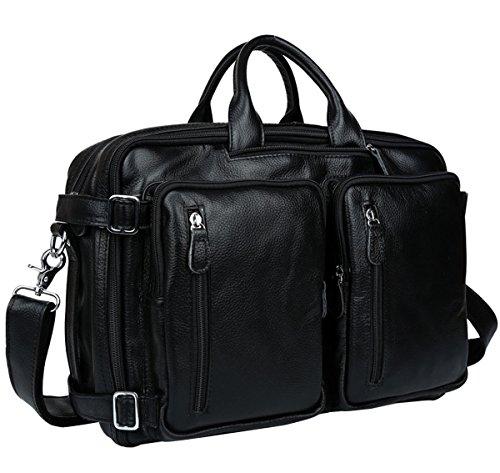 Berchirly Fashion Genuine Leather Men Backpack Messenger Shoulder Bag Handbag Multi-purpose Daypack Rucksack - New 2017 by Berchirly