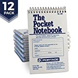 "Portage Pocket Sized Notebook for Journalists and Reporters, Law Enforcement Professionals and More – 3.75"" x 6"" Gregg Line Spacing, Narrow Ruled Spiral Notebook - 140 Pages (12 Pack)"