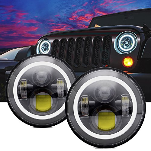 TURBOSII DOT Approved 7'' Round Black LED Headlight with High Low Beam White DRL Amber Turn Signal for Jeep Wrangler JK TJ LJ CJ Hummer H1 H2 (Pair)