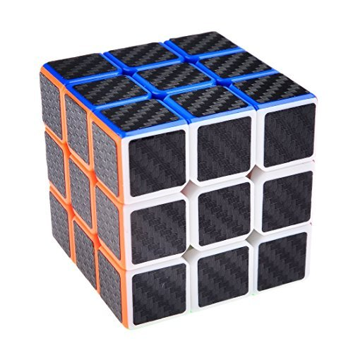 Cimkiz magic cube,3x3x3 Carbon Fiber Sticker Speed Smooth Puzzle Cube-Black