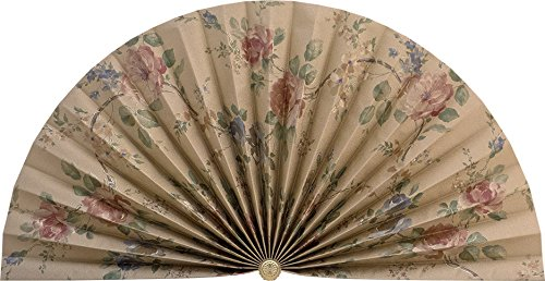 Neat Pleats Decorative Fan, Hearth Screen, or Overdoor Wall Hanging - L412 - Gold with Red & Blue Roses