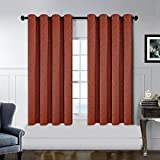 Kotile 2 Panels Home Decor Window Weave Texture Solid Thermal Insulated Faux Linen Grommet Top Blackout Curtains (52″x63″, Dark Orange) For Sale