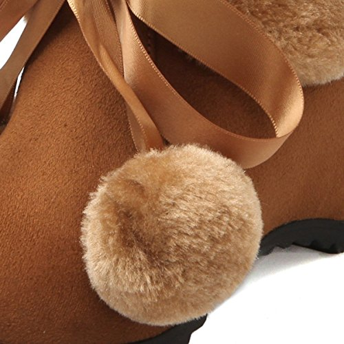 YE Damen Keilabsatz Ankle Boots Schnürstiefel High Heels mit Fell und Pompoms Absatz 7cm Bequem Warm Schuhe Braun