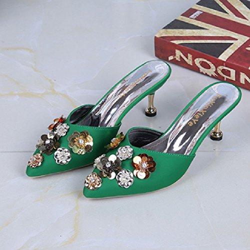 Women's on Heels Pumps Btrada Heeled Pointed Kitten Slides Sexy Toe Flower Sandals Sequins Slip Green Mules RHOqgd