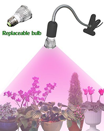 LED Grow Light - GTaipe LED Clip Desk Lamp Clamp Flexible Neck 360 Degree with 5W bulb For Hydroponic Garden Greenhouse