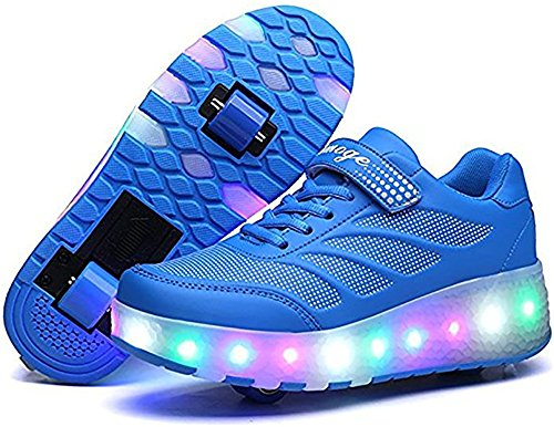 Price comparison product image edv0d2v266 Adult Kids Shoes LED Flashing Roller Shoes Wheel Skates Girl Boy Invisible Glowing Pulley Skating Sneakers (Blue 2wheels 3 M US Little Kid = EU 34)
