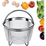 AMZLIFE Instant Pot Accessories 6qt Steamer Basket,Fits Instapot Pressure Cooker, Stainless Steel Basket with Premium Silicone Handle and Legs, Steaming Meat, Eggs, etc (FDA Certificated)