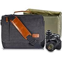 Estarer Camera Shoulder Bag for SLR/DSLR Digital Cameras Laptop Canvas Messenger Bag with Camera Insert Sleeve