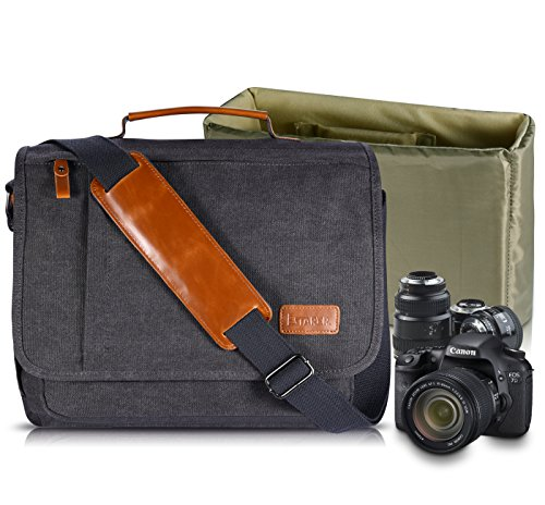 Estarer Camera Shoulder Bag for SLR/DSLR Digital Cameras 14inch Laptop Canvas Messenger Bag with Camera Insert Sleeve