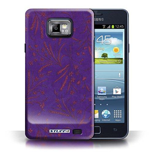 Etui pour Samsung Galaxy S2/SII / Violet/Rose conception / Collection de Motif floral blé