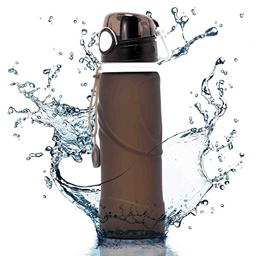 Foldable Water Bottle, UPmall 750ml Collapsible Silicone Water Bottle Reusable Leak Proof Sports Water Bottle Roll Up Cup for Running,Hiking,Camping,Biking and Travelling ( Black )