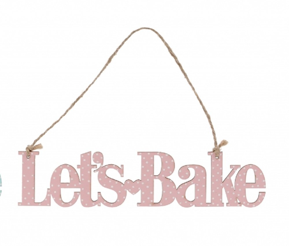 Let's Bake hanging pink or blue dotty sign plaque decoration (Blue) CGB