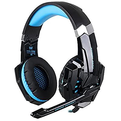 COMBATERWING KOTION EACH G9000 USB 7.1 Version Surround Sound Game Gaming Headphone Computer Headset Earphone Headband with Microphone LED Light (Black-blue)