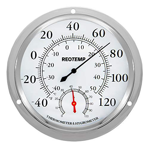 (REOTEMP WTH6 Wall Thermometer Hygrometer, Analog, 5.75