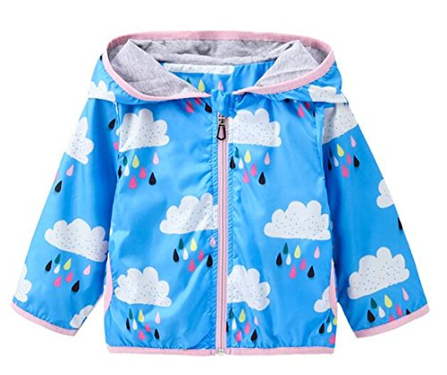Kids Baby Girls Rain Cloud Print Windproof Hooded Coats Sunscreen Cloak Zipper Jackets Size 18-24 Months