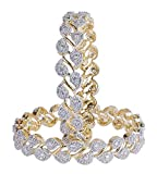 MUCHMORE Partywear Collection Zircon Made Gold Plated Diamontic Bangle Set For Girls & Women (2.60 IN)