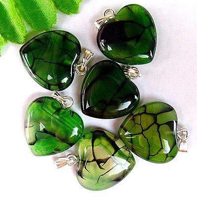 Green Veins Agate - FidgetFidget 6Pcs Black&Green Dragon Veins Agate Peach Heart Pendant Baed 24x20x6mm AT74762
