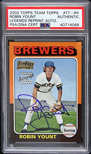 2002 Topps Team Robin Yount Signed Autographed 1975 Rookie Card RC COA - PSA/DNA Certified - Baseball Slabbed Autographed ()