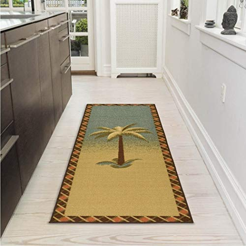(AB 1'8 x 4'11 Tan Green Beach Theme Runner Rug Rectangle, Brown Beige Tropical Themed Hallway Carpet Palm Tree Pattern Floor Cover Coastal Nautical Geometric Ocean Seaside Diamond Pattern, Nylon)