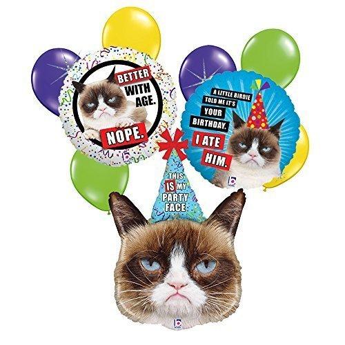 Grumpy Cat 9 pc Birthday Balloon Bouquet]()