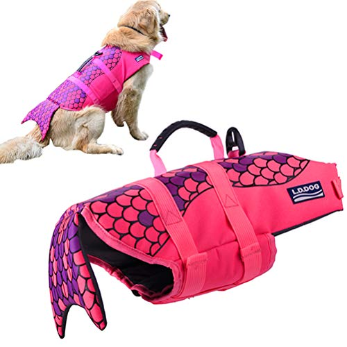 KOOLTAIL Dog Life Jacket - Safety Pet Adjustable Float Vest Pool Swimsuit Mermaid Style with Soft Handle for Summer Outdoor Swimming