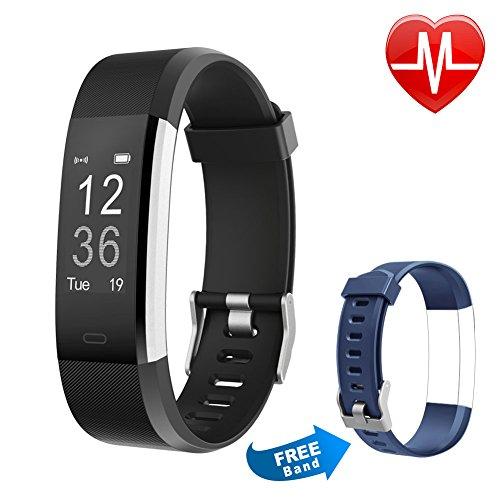 Letsfit Fitness Tracker HR, Activity Tracker Watch Heart Rate Monitor, IP67 Water Resistant Smart Bracelet Calorie Counter Pedometer Watch Smart Phone only Kids Women Men