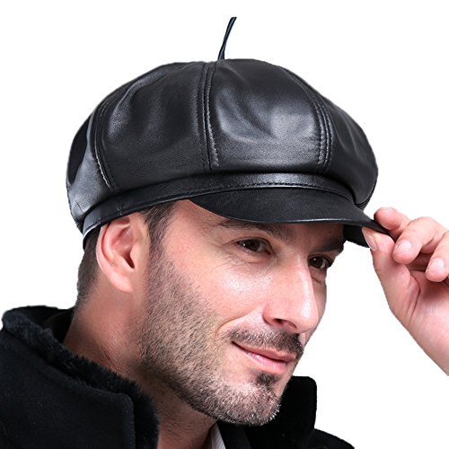 Vemolla Men's (Unisex) Real Leather newsboy Hat Mes Beret Cap Octanonal Cap Black - Measure Hat How To A Size Man's