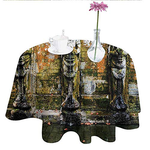 - DouglasHill Balinese Waterproof Anti-Wrinkle no Pollution Fountain in Ancient Temple Bali Asia Tropics Landmark Travel Destinations Photo Table Cloth D70 Inch Green White