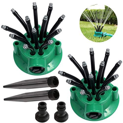 GKanMore Garden Hose Sprinkler Head Lawn Water Sprinkler 360 Degree Adjustable Noodle Head Nozzle Sprinkler for Outdoor Yard Garden Lawn Irrigation (Pack of 2, Green)