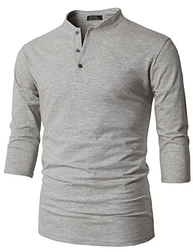 H2H Mens Henley Slim fit Shirts Gray US M/Asia L (KMTTS0564)
