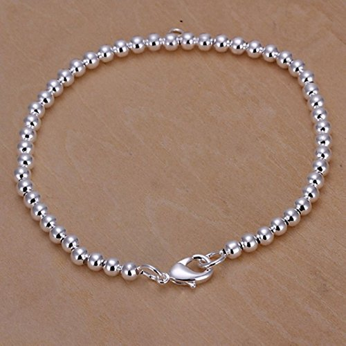 New Women 925 Sterling Silver Plated 4MM Beads Chain Bangle Bracelets Jewelry