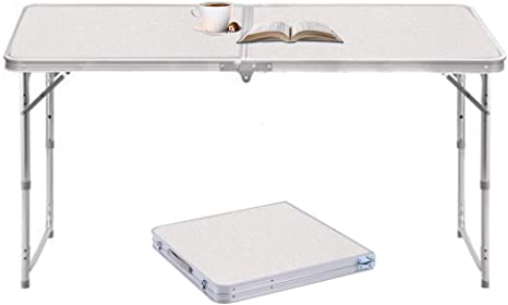 Ostazt 1.2M Mesa Plegable de Aluminio portátil para Camping, al Aire Libre, Picnic/Barbacoa/Fiesta de jardín/Maletero de Auto conducción