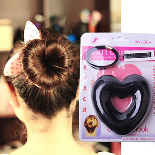 NUOLUX Hair Donut, Heart Shape Donut Hair Bun Maker,5 Pack