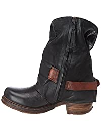 DecoStain Women's Zipper Strap Buckle Round Toe Martens Boots Ankle Boots Winter Boots
