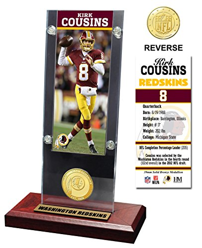 NFL Washington Redskins Kirk Cousins Acrylic Ticket & Bronze Coin, Bronze, 12