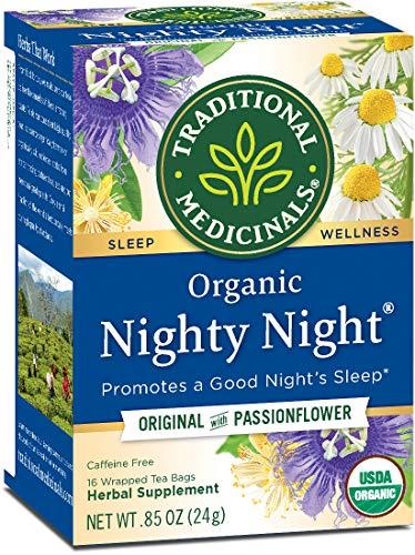 Traditional Medicinals Organic Nighty Night Tea Relaxation Tea, 16 Tea Bags (Pack of 6) (Medicinal Tea Period)