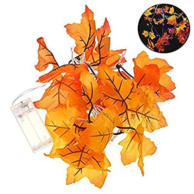 Thanksgiving Decorations Lighted Autumn Garland, niceEshop(TM) Maple Leaf LED Lighted Fall Garland Battery Operated String Lights for Thanksgiving, Christmas, DIY 10 LEDs 5.5ft / 1.65m