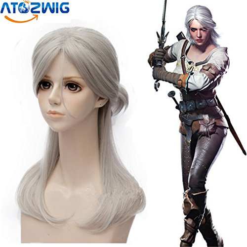 [ATOZWIG Medium Long Hair Party Wig Game Witcher 3 Ciri Silver White Natural Straight Synthetic Cosplay] (Witcher 3 Ciri Costume)