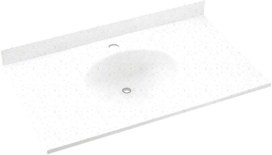 dropship code Swanstone VT01931.053 Ellipse Solid Surface Single-Bowl Vanity Top 31-in L X 19-in H X 7.25-in H Tahiti Gray Trumbull