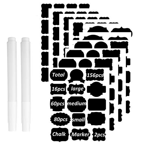 Chalkboard Labels Different Specifications Complete Bundle:156 Premium Reusable Chalkboard Stickers Decorative Label with Bonus 2 Erasable Chalk Markers for Labeling Jars,Pantry,Parties,Canister