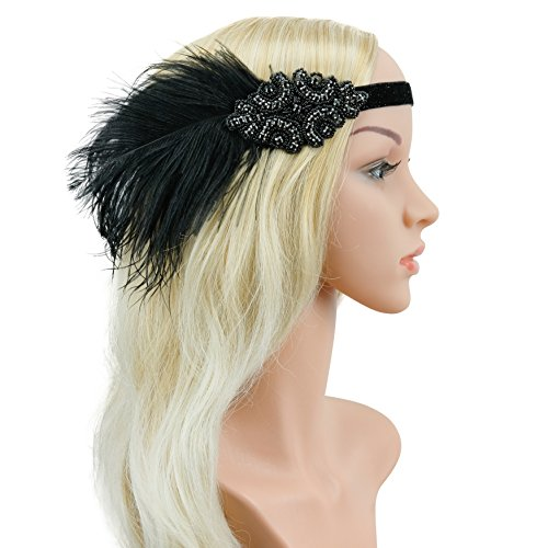[Zivyes Vintage Black Feather Silver 20s Headpiece 1920s Flapper Headband (one size, Black)] (Black And Silver Beaded Flapper Headband)