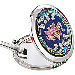 Indian elephant themed metal compact mirror (16 pack)