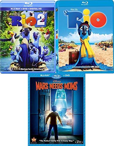 Martians & Birds Animated 3-pack Disney Mars Needs Moms Blu Ray + Rio 1 & Rio 2 Triple Feature Movies