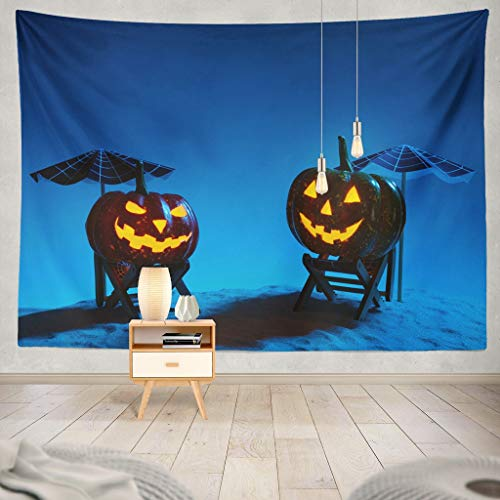 KJONG Two Creative Halloween Pumpkins Sandy Beach with and Umbrellas Halloween Beach Black Blue Bright Burning Carved Decorative Tapestry,60X80 Inches Wall Hanging Tapestry for Bedroom Living Room
