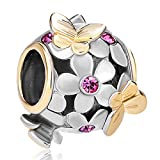 Pugster Silver/Gold Plated Crystal Flower Golden Butterfly Bead Charm Fits Pandora Charms Bracelet